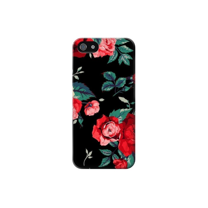 Printed Rose Floral Pattern Black Iphone 5 Case