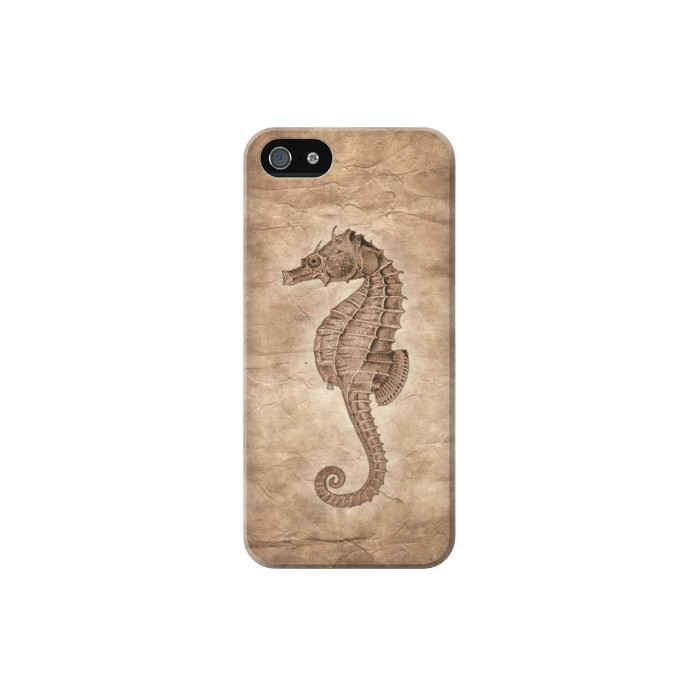 Printed Seahorse Old Paper Iphone 5 Case