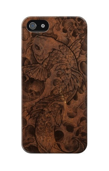 Printed Fish Tattoo Leather Graphic Print Iphone 5 Case