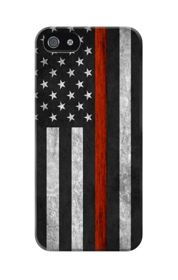 Printed Firefighter Thin Red Line Flag Iphone 5 Case