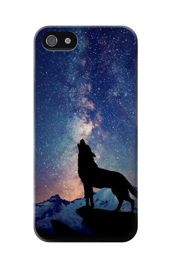Printed Wolf Howling Million Star Iphone 5 Case