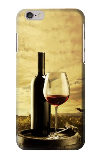 Printed A Grape Vineyard Grapes Bottle and Glass of Red Wine Iphone 6 Case