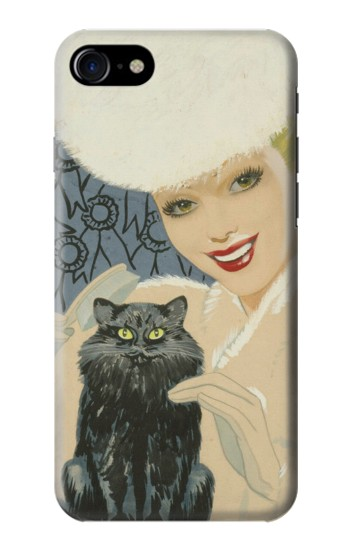 Printed Beautiful Lady With Black Cat Iphone 7 Case