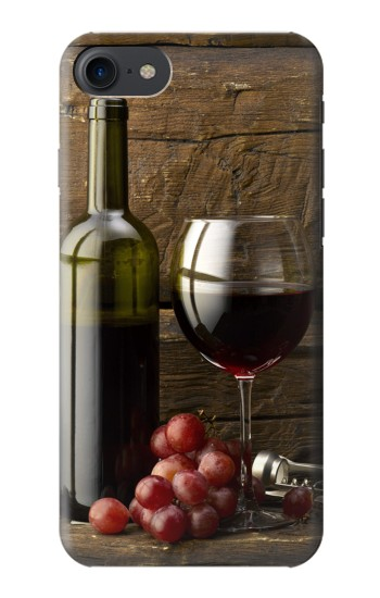 Printed Grapes Bottle and Glass of Red Wine HTC One E9+ Case