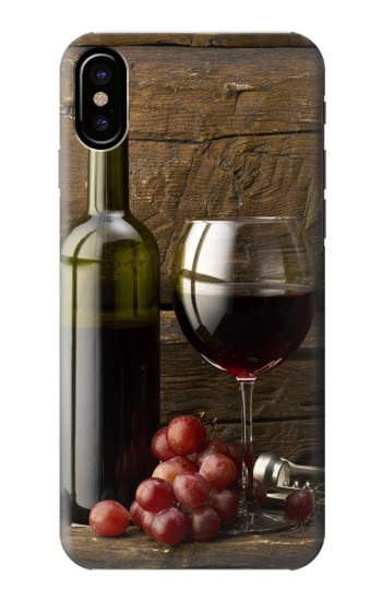 Printed Grapes Bottle and Glass of Red Wine HTC One M9+ Case