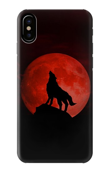 Printed Wolf Howling Red Moon HTC One M9+ Case