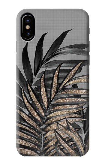 Printed Gray Black Palm Leaves HTC One M9+ Case