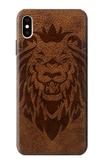 Printed Leo Tattoo Brown Leather iPhone XS Max Case