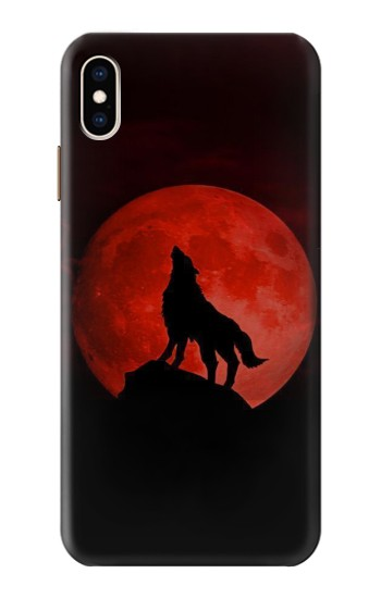 Printed Wolf Howling Red Moon iPhone XS Max Case