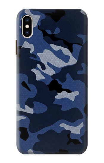 Printed Navy Blue Camouflage iPhone XS Max Case