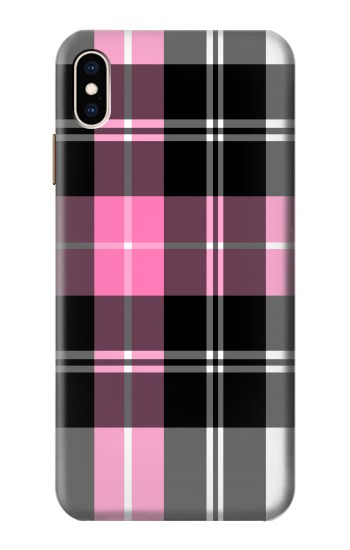 Printed Pink Plaid Pattern iPhone XS Max Case