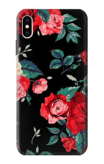 Printed Rose Floral Pattern Black iPhone XS Max Case
