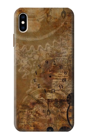 Printed Vintage Paper Clock Steampunk iPhone XS Max Case