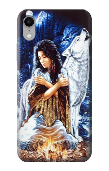 Printed Grim Wolf Indian Girl iPhone XR Case