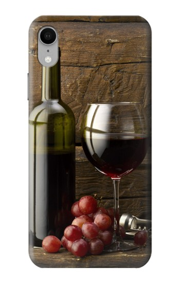 Printed Grapes Bottle and Glass of Red Wine iPhone XR Case