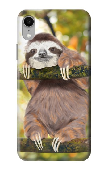 Printed Cute Baby Sloth Paint iPhone XR Case