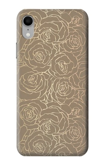 Printed Gold Rose Pattern iPhone XR Case