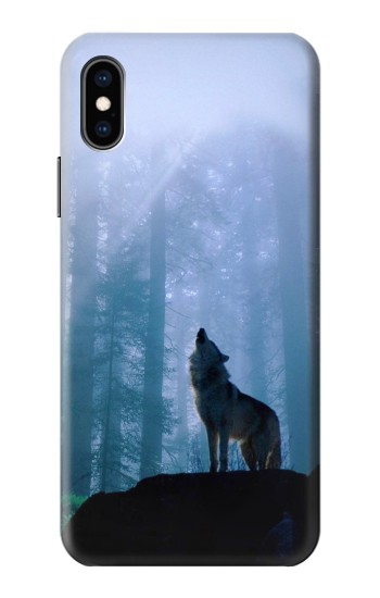 Printed Wolf Howling in Forest iPhone XS Case