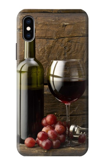 Printed Grapes Bottle and Glass of Red Wine iPhone XS Case