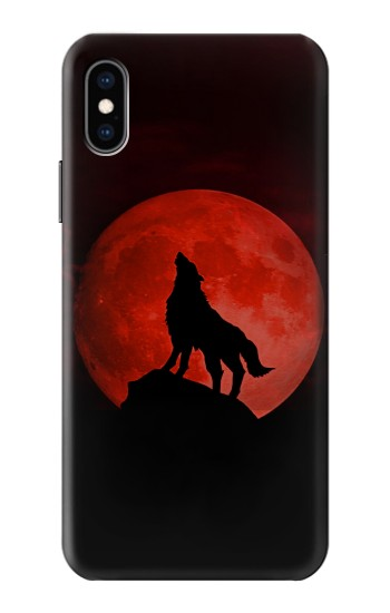 Printed Wolf Howling Red Moon iPhone XS Case