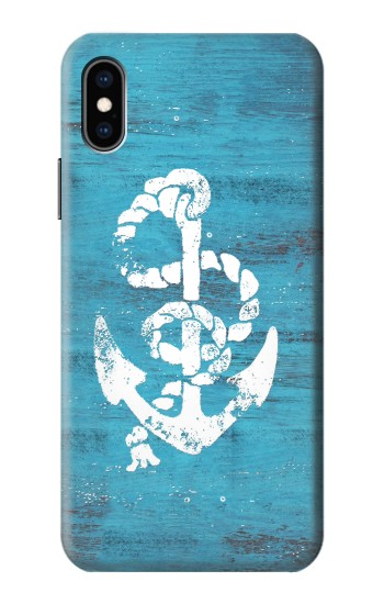 Printed Marine Anchor Blue Wooden iPhone XS Case