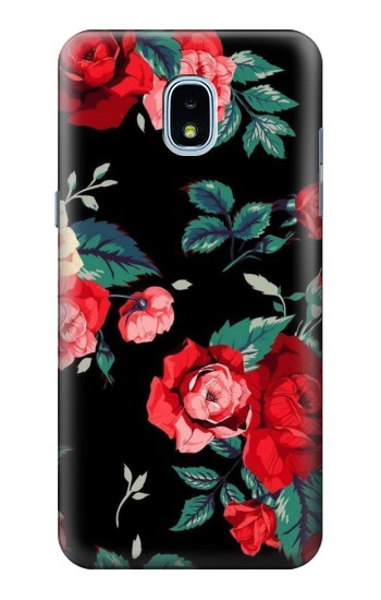 Printed Rose Floral Pattern Black Samsung Galaxy J3 (2018) Case