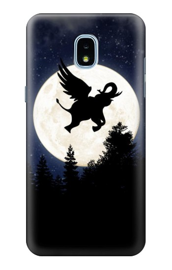 Printed Flying Elephant Full Moon Night Samsung Galaxy J3 (2018) Case