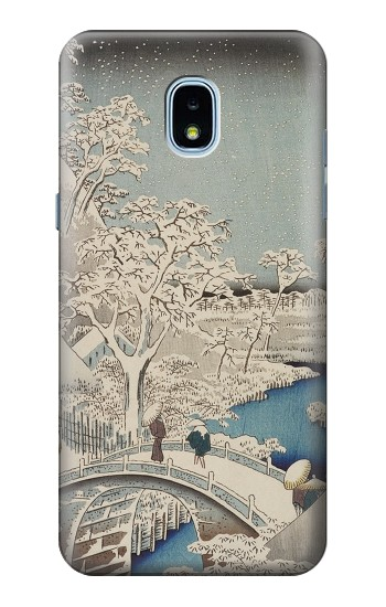 Printed Utagawa Hiroshige The Drum Bridge at Yuhi Hill in Meguro Samsung Galaxy J3 (2018) Case