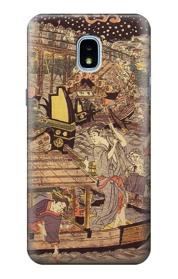 Printed Utagawa Kuniyasu Fireworks at Ryogoku Bridge Samsung Galaxy J3 (2018) Case