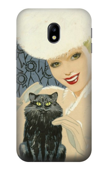 Printed Beautiful Lady With Black Cat HTC One A9 Case