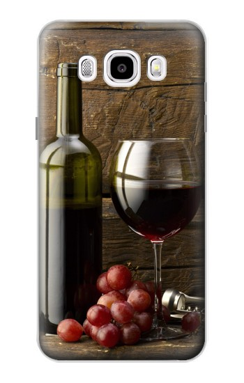 Printed Grapes Bottle and Glass of Red Wine Samsung Galaxy J5 (2016) Case