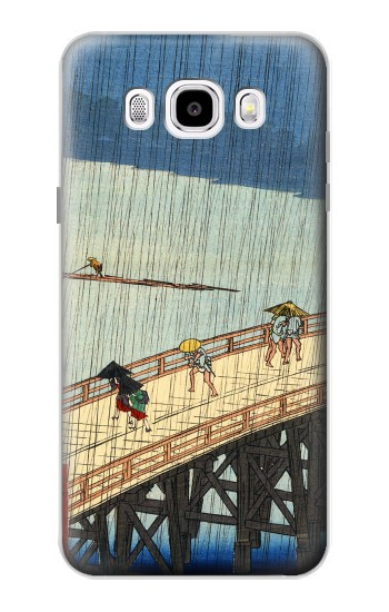 Printed Utagawa Hiroshige Sudden shower over Shin Oashi bridge and Atake Samsung Galaxy J5 (2016) Case