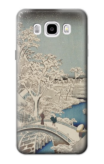 Printed Utagawa Hiroshige The Drum Bridge at Yuhi Hill in Meguro Samsung Galaxy J5 (2016) Case