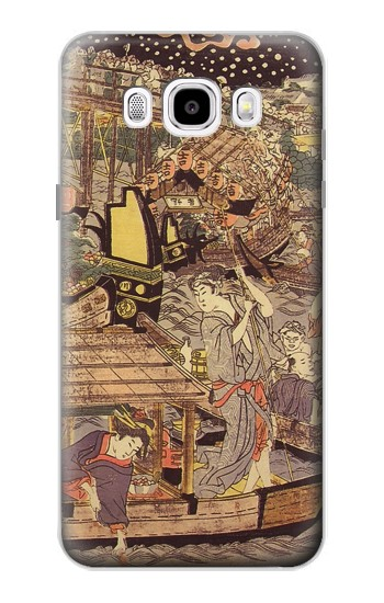 Printed Utagawa Kuniyasu Fireworks at Ryogoku Bridge Samsung Galaxy J5 (2016) Case