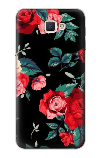 Printed Rose Floral Pattern Black Samsung Galaxy A8, A8 Duos Case
