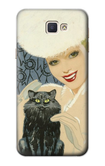 Printed Beautiful Lady With Black Cat Samsung Galaxy A8, A8 Duos Case