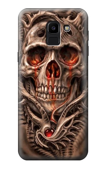 Printed Skull Blood Tattoo Samsung Galaxy J6 Case