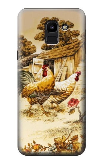 Printed French Country Chicken Samsung Galaxy J6 Case