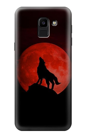 Printed Wolf Howling Red Moon Samsung Galaxy J6 Case