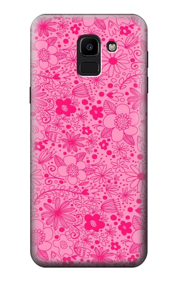 Printed Pink Flower Pattern Samsung Galaxy J6 Case