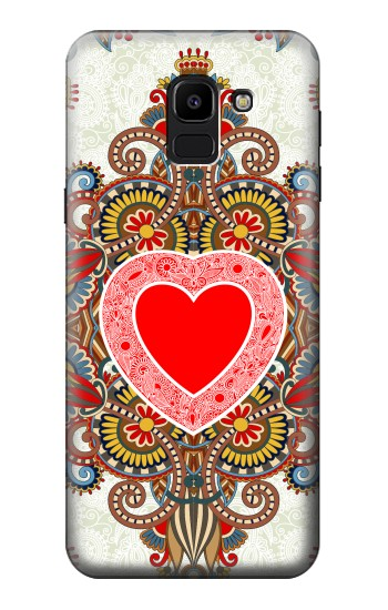 Printed Heart Pattern Line Art Samsung Galaxy J6 Case