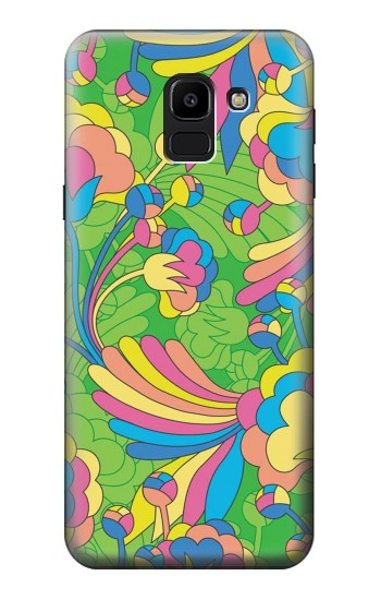 Printed Flower Line Art Pattern Samsung Galaxy J6 Case