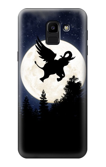 Printed Flying Elephant Full Moon Night Samsung Galaxy J6 Case