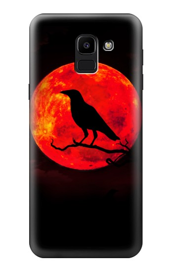 Printed Crow Red Moon Samsung Galaxy J6 Case