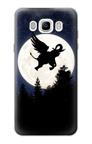 Printed Flying Elephant Full Moon Night Samsung Galaxy J7 (2016) Case