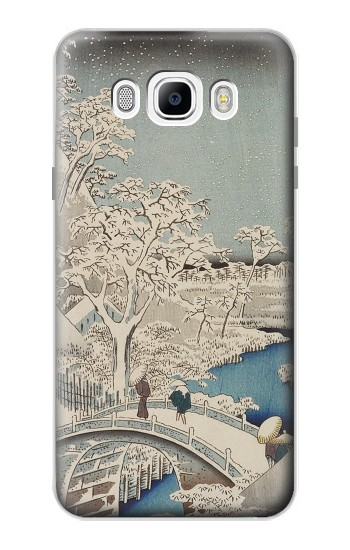 Printed Utagawa Hiroshige The Drum Bridge at Yuhi Hill in Meguro Samsung Galaxy J7 (2016) Case