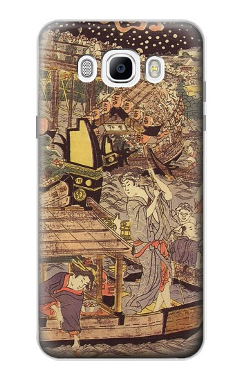Printed Utagawa Kuniyasu Fireworks at Ryogoku Bridge Samsung Galaxy J7 (2016) Case