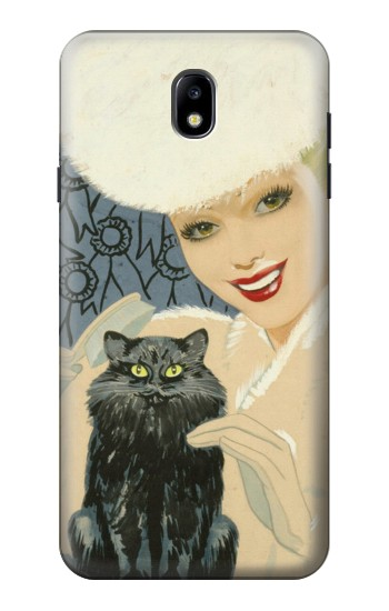 Printed Beautiful Lady With Black Cat Samsung Galaxy J7 (2018) Case