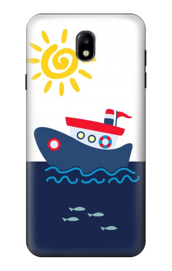 Printed Cartoon Fishing Boat Samsung Galaxy J7 (2018) Case