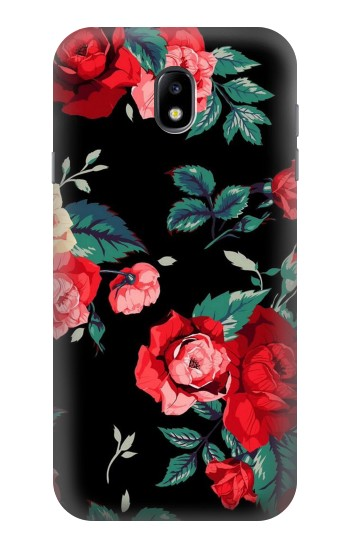 Printed Rose Floral Pattern Black Samsung Galaxy Core I8260 Case